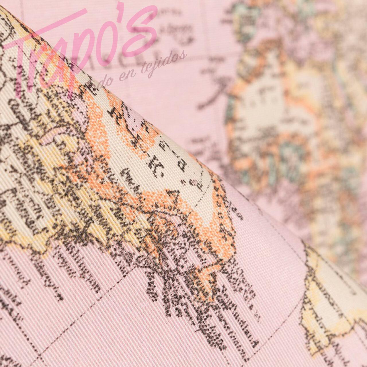 LONETA MAPA MUNDI ROSA1